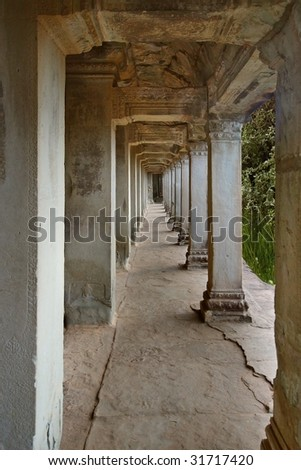 gallery at Ankor Wat - stock photo