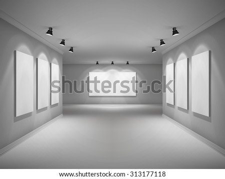 Gallery 3d realistic interior with empty picture frames in spotlights  illustration