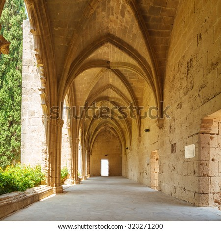 Gallery in Bellapais Abbey of Premonstratensian order (13th c.), Kyrenia, North Cyprus - stock photo