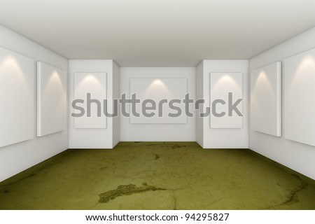 Gallery Interior Room With Grunge Green Concrete Floor