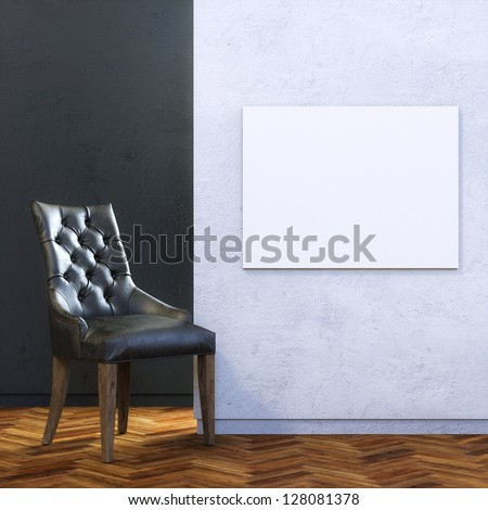 Gallery Interior with Black Leather Chair and Empty Frame on Wall - stock photo
