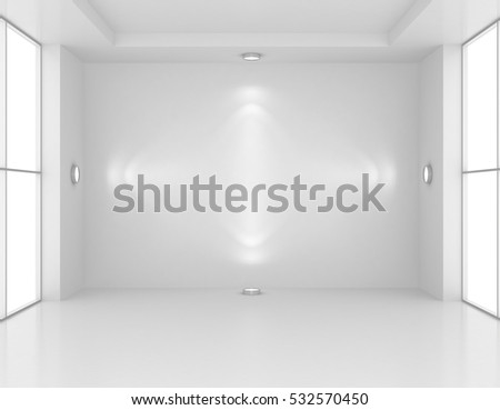 Gallery Interior with empty wall and lights. 3d rendering.