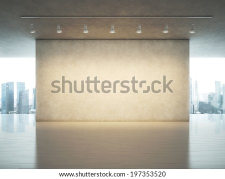 Gallery interior with spot lights - stock photo