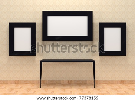 Gallery interior with table and empty black frames on wall