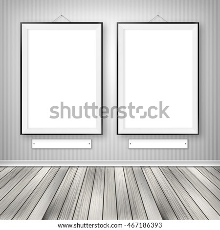 Gallery interior with two empty frames on wall. 3D illustration