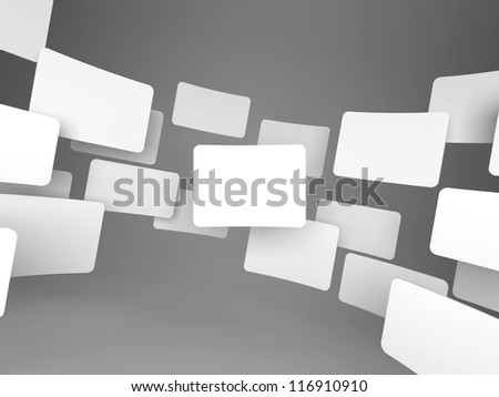 Gallery of Blank Images on Grey Background. - stock photo