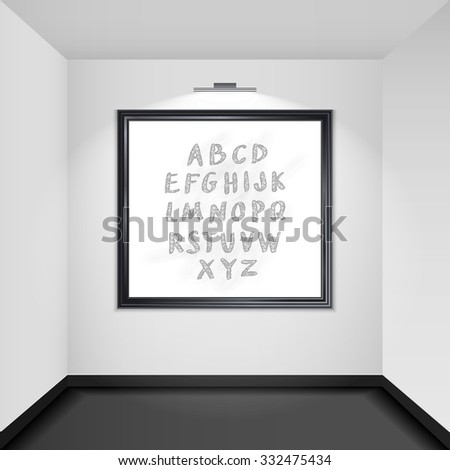 Gallery room interior with blank picture frame illuminated with spotlights realistic 3d  illustration - stock photo