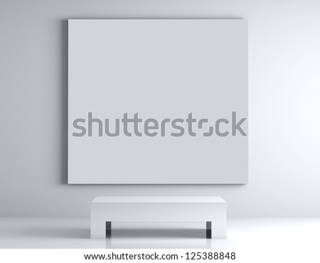 gallery room with poster on wall - stock photo