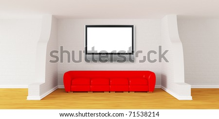 Gallery's hall with red sofa and flat TV