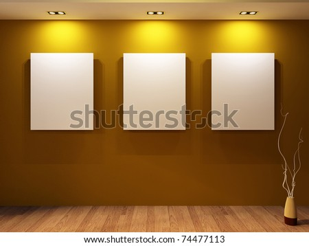Gallery. Three blanks on a wall and decorative vase on parquet floor in modern interior. - stock photo