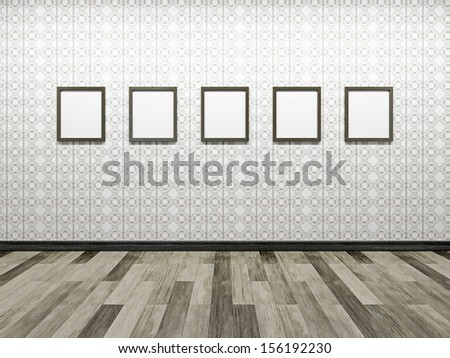 Gallery with blank pictures on the wall - stock photo