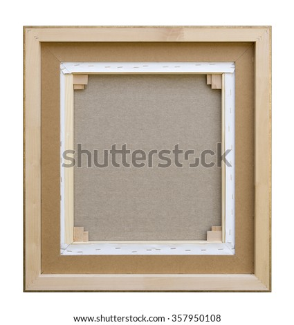 Gallery wrapped blank back view canvas in wooden frame construction - stretcher bar frames back side isolated on white