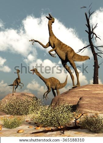 Gallimimus dinosaurs - 3D render - stock photo