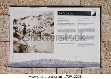 GALLIPOLI, TURKEY - MAY 4, 2010: An information plate at the Anzac Cove Memorial telling the story of the campaign took place between Turkish and British armies in Canakkale, Turkey. - stock photo