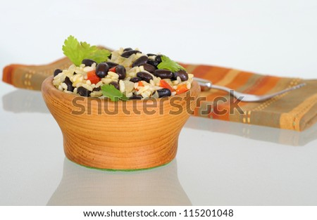Gallo pinto, or spotted rooster, is a traditional Costa Rica rice and bean dish. - stock photo