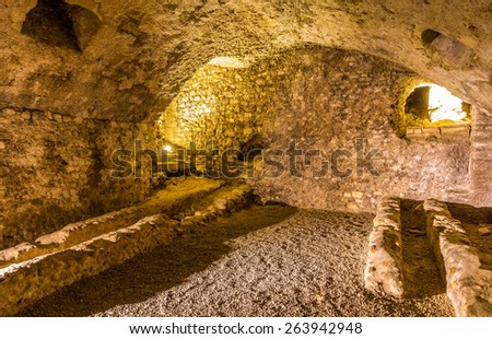 Gallo-roman horreum in Narbonne - France - stock photo