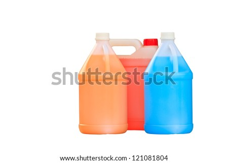 gallon bottle of  liquid isolated over a white background - stock photo