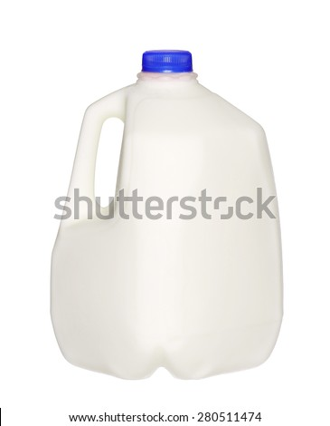 gallon Milk Bottle with blue Cap Isolated on White Background. - stock photo