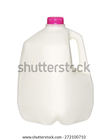 gallon Milk Bottle with pink Cap Isolated on White Background.