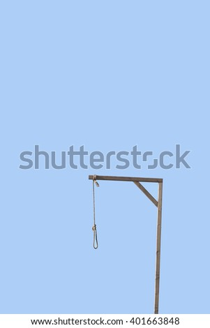 Gallows and hangman noose against a blue sky - stock photo