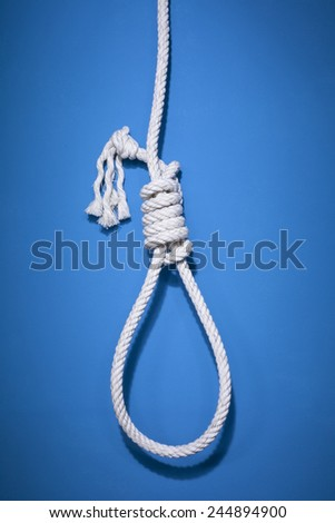 gallows on the blue background - stock photo
