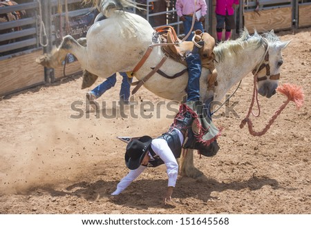 GALLUP , NEW MEXICO - AUGUST 10 : Cowboy Participates in a Bucking Horse Competition at the 92nd annual Indian Rodeo in Gallup, NM on August 10 2013   - stock photo