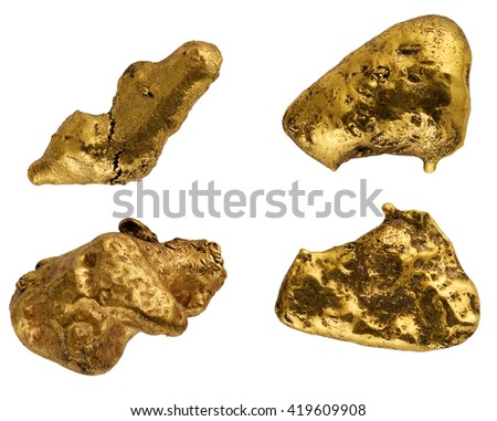 Galvanic copies of gold nuggets on a white background.  - stock photo