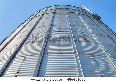 Galvanised Iron grain silos on a farm in Eastern Europe