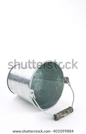 Galvanized empty bucket on a white background - stock photo