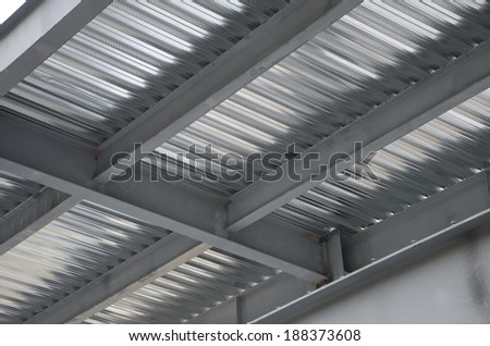 Galvanized iron frame support This metal support plates are used to create floors in a construction  - stock photo