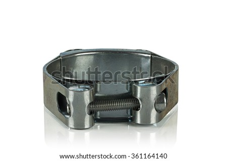galvanized metal clamp on a white background - stock photo