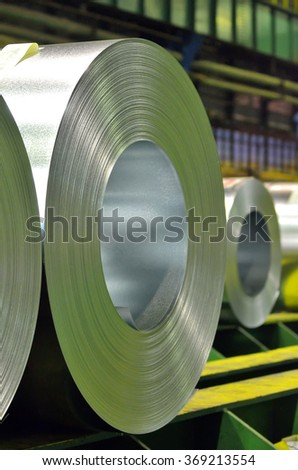 galvanized steel coil in steel plant - stock photo