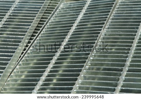 Galvanized steel covers for drainage system or cable trench.
