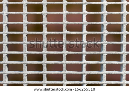 Galvanized steel grid close up