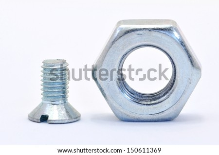 Galvanized steel screw with a nut screwed on a white background