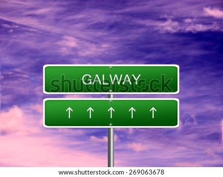 Galway city Ireland tourism Eire welcome icon sign. - stock photo