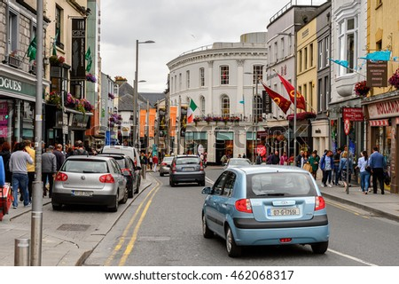 GALWAY, IRELAND - JULY 13, 2016: Street in Galway, Ireland. Galway will be European Capital of Culture in 2020