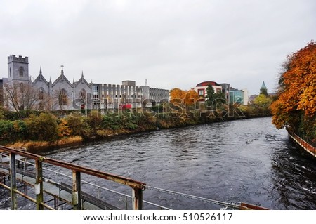 GALWAY, IRELAND -31 OCT 2016- Built on the River Corrib and several canals, the city of Galway in Ireland is sometimes called the Venice of the West. Galway is a major port.