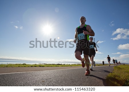 GALWAY, IRELAND - OCTOBER 6: Unidentified athletes compete during annual Galway Bay Half Marathon and 10K, on October 6, 2012 in Galway, Ireland.