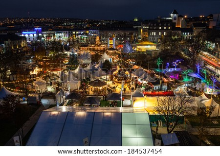 GALWAY - NOVEMBER 23: Panoramic view of Annual Galway Continental Christmas Market on November 23, 2013 in Galway, Ireland. - stock photo