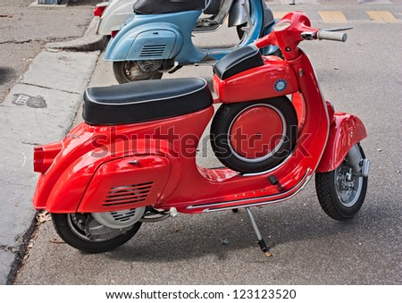 """GAMBETTOLA (FC) ITALY - SEPTEMBER 4: old italian scooter Vespa 90 Super Sprint at meeting of fans of vintage car and motorcycle """"Mostrascambio 2011"""" on SEPTEMBER 4, 2011 in Gambettola (FC) Italy - stock photo"""