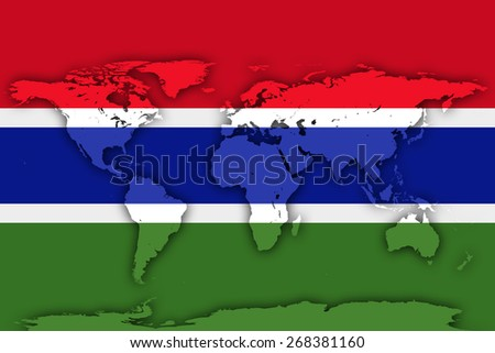 Gambia flag and world map background - stock photo