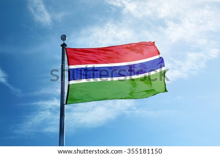 Gambia Flag on the mast - stock photo