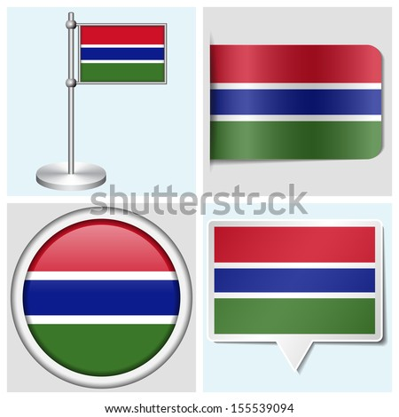 Gambia flag set of various sticker button label and flagstaff
