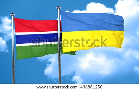 Gambia flag with Ukraine flag, 3D rendering