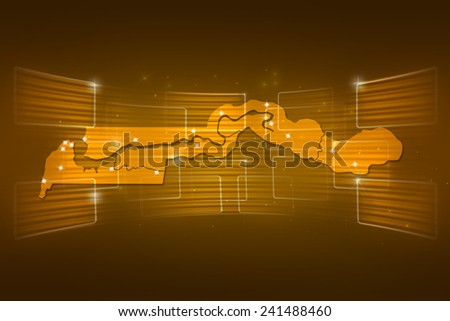 Gambia Map World map News Communication delivery yellow gold - stock photo