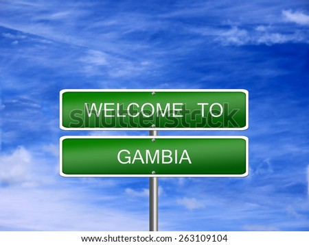 Gambia welcome sign post travel immigration. - stock photo