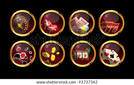 gambling buttons set on black background - stock photo