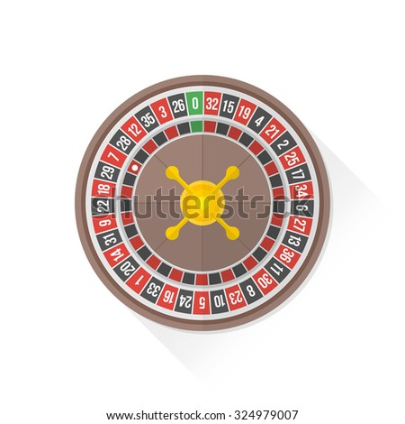 gambling casino roulette wheel isolated flat design illustration on white background with shadow