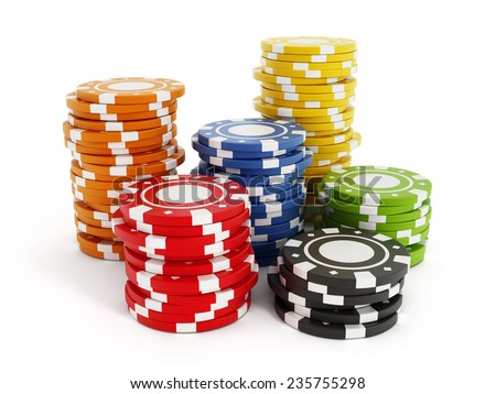 Gambling chips isolated on white background. - stock photo